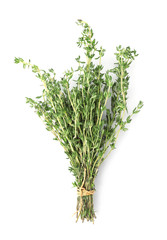 Bunch of thyme on white background, top view. Fresh herb