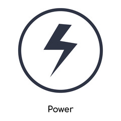 Power icon vector sign and symbol isolated on white background, Power logo concept
