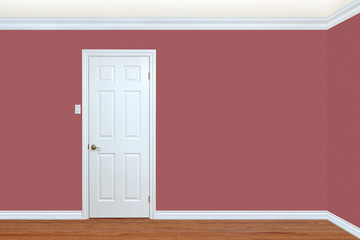 Bedroom wall and corner with door, baseboard and crown molding.