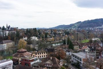 city view of bern capital of switzerland in winter