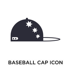 Baseball cap icon vector sign and symbol isolated on white background, Baseball cap logo concept