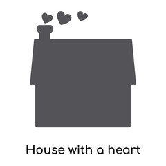 House with a heart icon vector sign and symbol isolated on white background, House with a heart logo concept