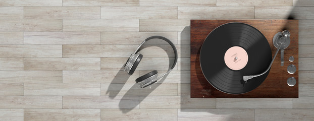 Headphones and vinyl LP record player on wooden background, banner, copy space. 3d illustration