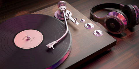 Headphones and vinyl LP record player on wooden background, closeup view. 3d illustration