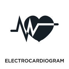 Electrocardiogram icon vector sign and symbol isolated on white background, Electrocardiogram logo concept