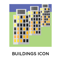 Buildings icon vector sign and symbol isolated on white background, Buildings logo concept