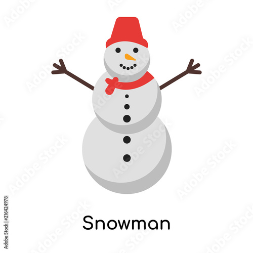 Snowman Icon Vector Sign And Symbol Isolated On White Background