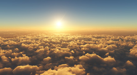 Canvas Prints Heaven high angle view of beautiful golden sunset above clouds