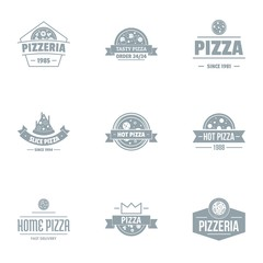 Pizza pie logo set. Simple set of 9 pizza pie vector logo for web isolated on white background