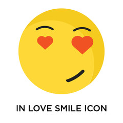 In love smile icon vector sign and symbol isolated on white background, In love smile logo concept