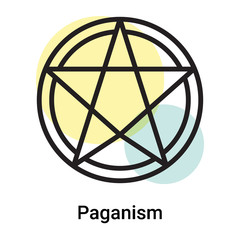 Paganism icon vector sign and symbol isolated on white background, Paganism logo concept