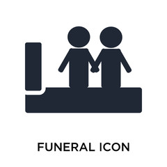 Funeral icon vector sign and symbol isolated on white background, Funeral logo concept