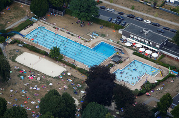 The public swimming pool of the western German town of Haltern is seen in this aerial image during a long-lasting heatwave over central Europe in Haltern