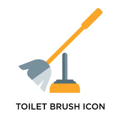 Toilet brush icon vector sign and symbol isolated on white background, Toilet brush logo concept