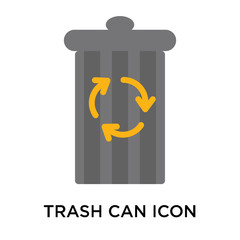 Trash can icon vector sign and symbol isolated on white background, Trash can logo concept
