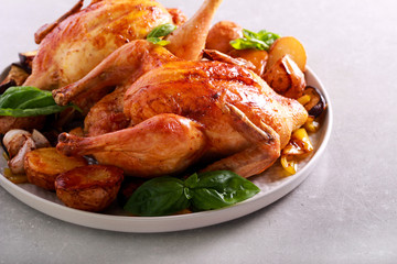 Roast chickens with roast vegetables