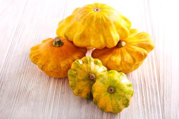 Yellow scalloped squash called patty pan