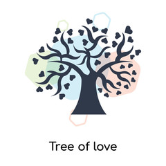 Tree of love icon vector sign and symbol isolated on white background, Tree of love logo concept