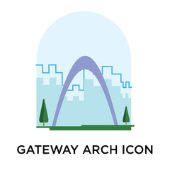 Gateway arch icon vector sign and symbol isolated on white background, Gateway arch logo concept