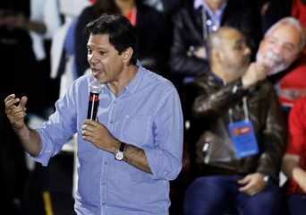 Former Sao Paulo mayor Haddad and member of Workers' Party (PT) talks during the National congress of Workers' Party (PT) in Sao Paulo