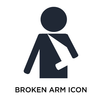 Broken arm icon vector sign and symbol isolated on white background, Broken arm logo concept