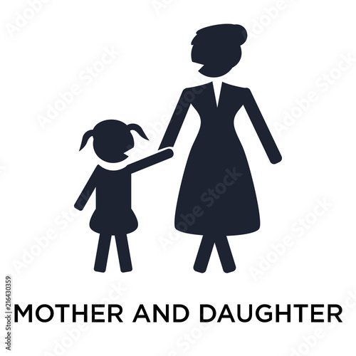 Mother And Daughter Icon Vector Sign And Symbol Isolated On White