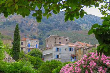 NIce view of a mountain village in the Balagne region, Corsica, France