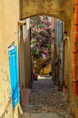 Picturesque small cobbled street in a mountain village of the Balagne region, Corsica, France