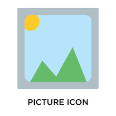 Picture icon vector sign and symbol isolated on white background, Picture logo concept