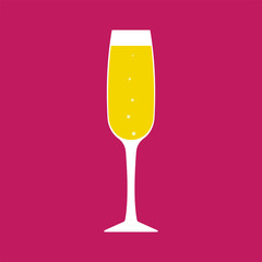 Vector glass of champagne with bubbles on pink background