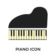 Piano icon vector sign and symbol isolated on white background, Piano logo concept