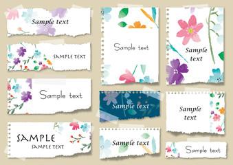 水彩の花のメモ帳セット