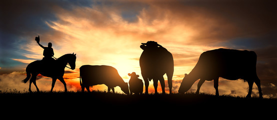 A cowboy controls a herd of cows at sunset Wall mural