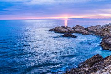 Sunrise at the Mediterranean Sea (Catalonia, Escala, Spain).