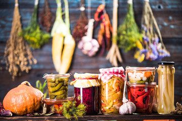 Pickled Marinated Fermented vegetables on shelves