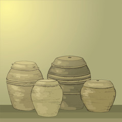 Storage of kimchi and sauces in South Korea. Traditional Korean barrels. Clay pots for storage. Culture of South Korea.Korean antique dishes.