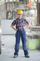 portrait of a female builder