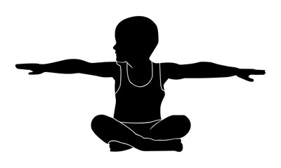 Silhouette pictures of small children practicing gymnastic