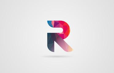 alphabet letter r logo design with rainbow colors