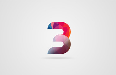number 3 logo design with rainbow colors