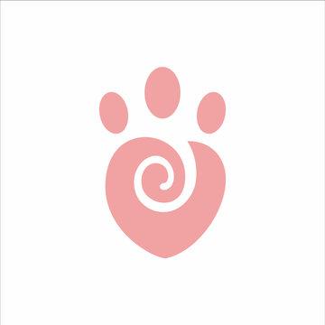 Pet Love, Pet Care Logo Vector Design Concept