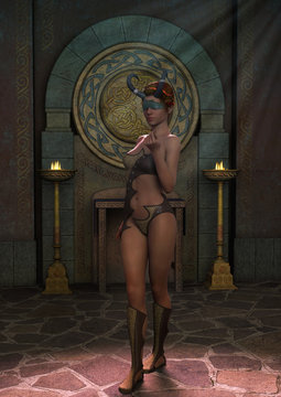 Fantasy priestess blindfold with horns with a sexy pose.