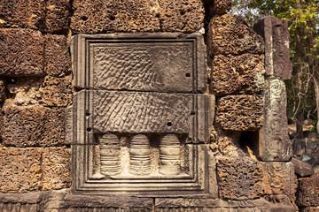 Ancient hindu temple decor, Angkor Wat, Cambodia. Banteay Thom ruin. Khmer architecture heritage landmark detail. Fototapete