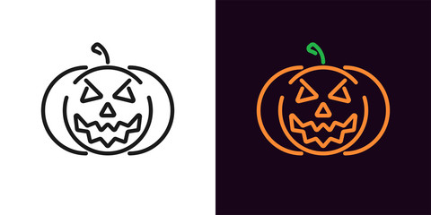 Evil pumpkin in outline style