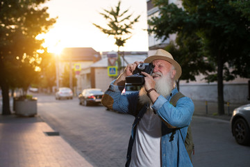 Senior Man Camera Photography Traveling Concept