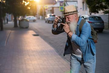 Senior Man Camera Photography Traveling Concept