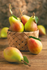 Fresh pears in basket