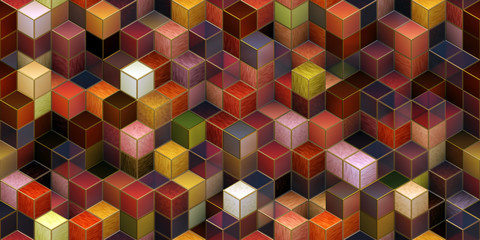 Closeup of colorful 3D cubes / blocks ornament texture background (Tiles seamless, High-resolution 3D CG rendering illustration)