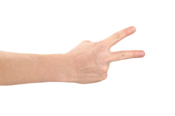 Hand showing two fingers, isolated on white background