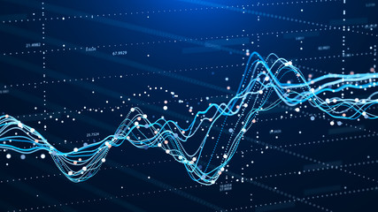 Stock market chart. Business Graph. Investment graph. Abstract financial chart. 3D rendering.